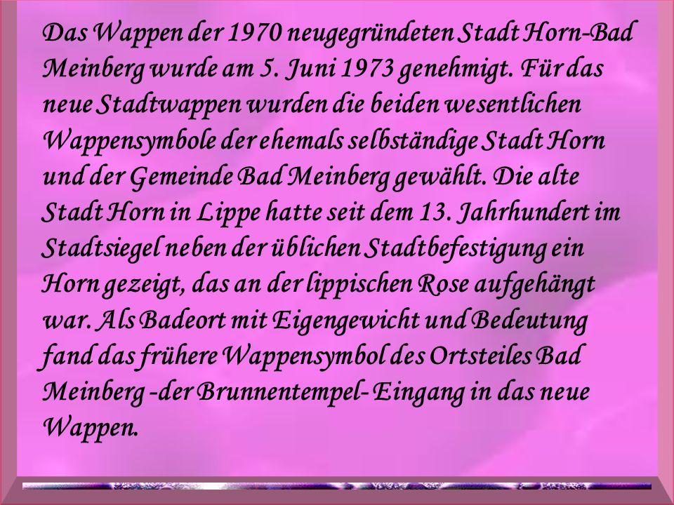Das Wappen der 1970 neugegründeten Stadt Horn-Bad Meinberg wurde am 5. Juni 1973 genehmigt. Für das neue Stadtwappen wurden die beiden wesentlichen Wa