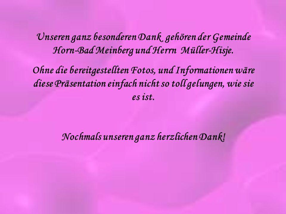 Unseren ganz besonderen Dank gehören der Gemeinde Horn-Bad Meinberg und Herrn Müller-Hisje. Ohne die bereitgestellten Fotos, und Informationen wäre di