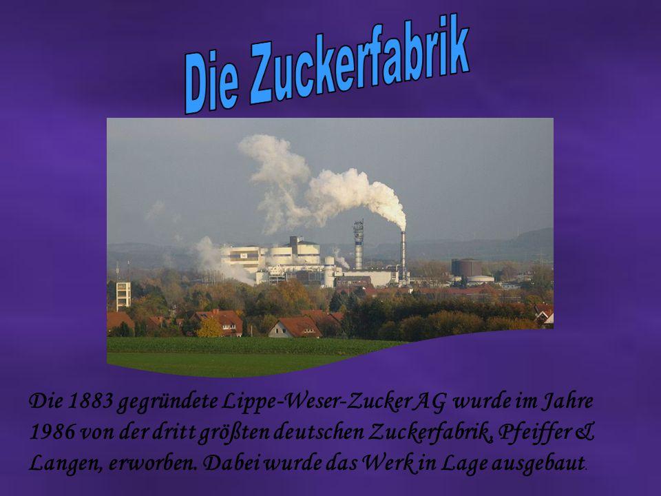 Die 1883 gegründete Lippe-Weser-Zucker AG wurde im Jahre 1986 von der dritt größten deutschen Zuckerfabrik, Pfeiffer & Langen, erworben.