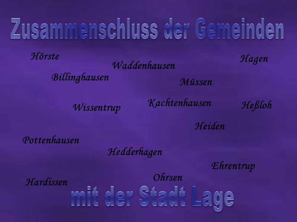 Billinghausen Ehrentrup Hagen Hardissen Hedderhagen Heiden Heßloh Hörste Müssen Ohrsen Pottenhausen Waddenhausen Wissentrup Kachtenhausen
