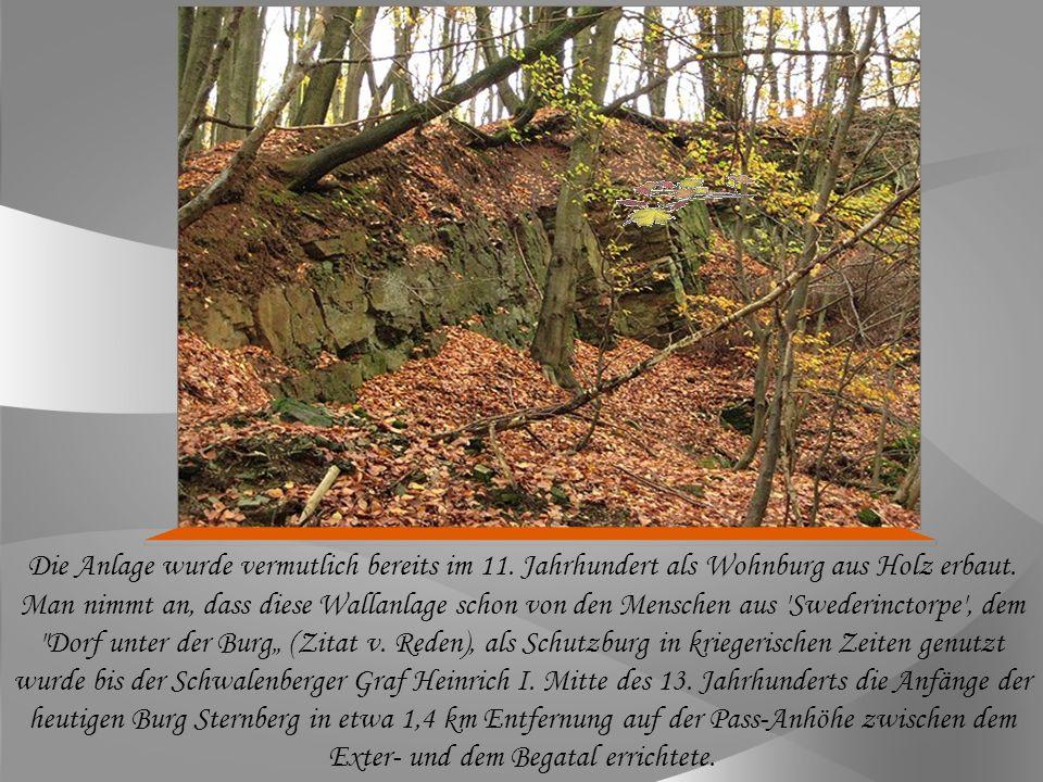 Auf dem Mühlingsberg in Dörentrup findet man den Vorläufer der nahen, südöstlich gelegenen Burg Sternberg.