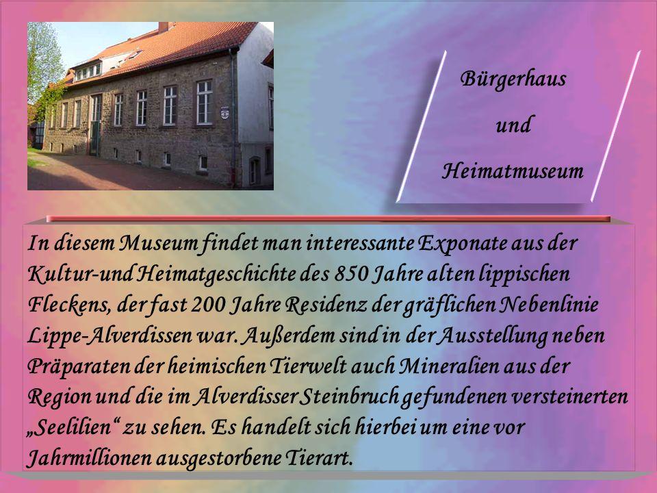 Bürgerhaus und Heimatmuseum In diesem Museum findet man interessante Exponate aus der Kultur-und Heimatgeschichte des 850 Jahre alten lippischen Fleck