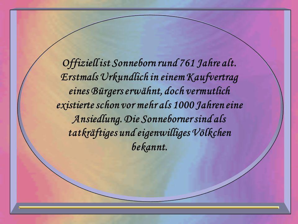 Offiziell ist Sonneborn rund 761 Jahre alt. Erstmals Urkundlich in einem Kaufvertrag eines Bürgers erwähnt, doch vermutlich existierte schon vor mehr