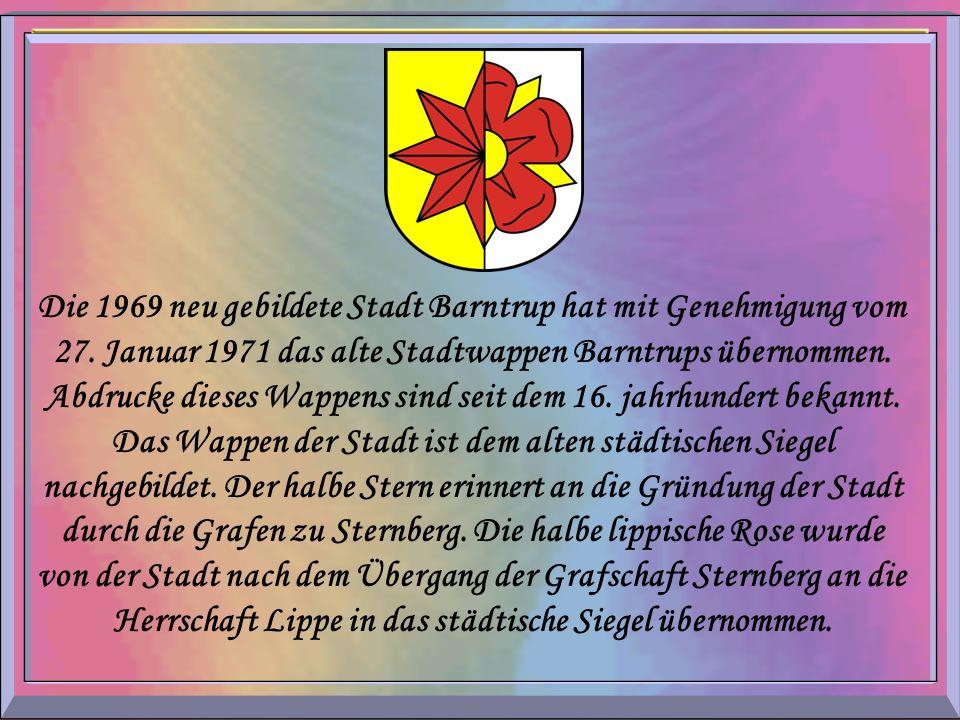 Die 1969 neu gebildete Stadt Barntrup hat mit Genehmigung vom 27. Januar 1971 das alte Stadtwappen Barntrups übernommen. Abdrucke dieses Wappens sind