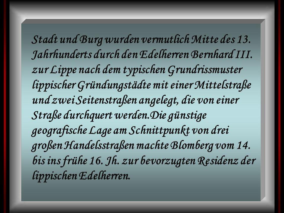 Stadt und Burg wurden vermutlich Mitte des 13. Jahrhunderts durch den Edelherren Bernhard III. zur Lippe nach dem typischen Grundrissmuster lippischer