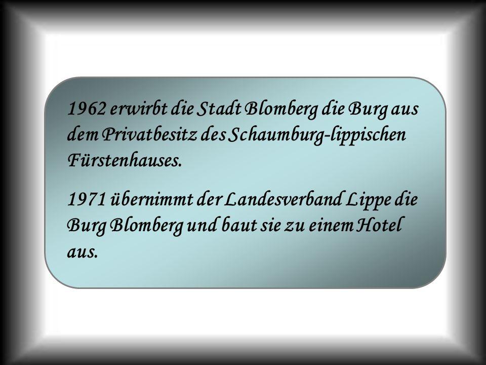 1962 erwirbt die Stadt Blomberg die Burg aus dem Privatbesitz des Schaumburg-lippischen Fürstenhauses. 1971 übernimmt der Landesverband Lippe die Burg