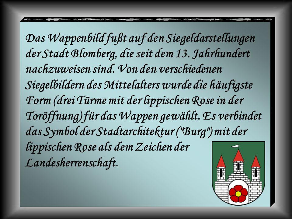 Das Wappenbild fußt auf den Siegeldarstellungen der Stadt Blomberg, die seit dem 13. Jahrhundert nachzuweisen sind. Von den verschiedenen Siegelbilder