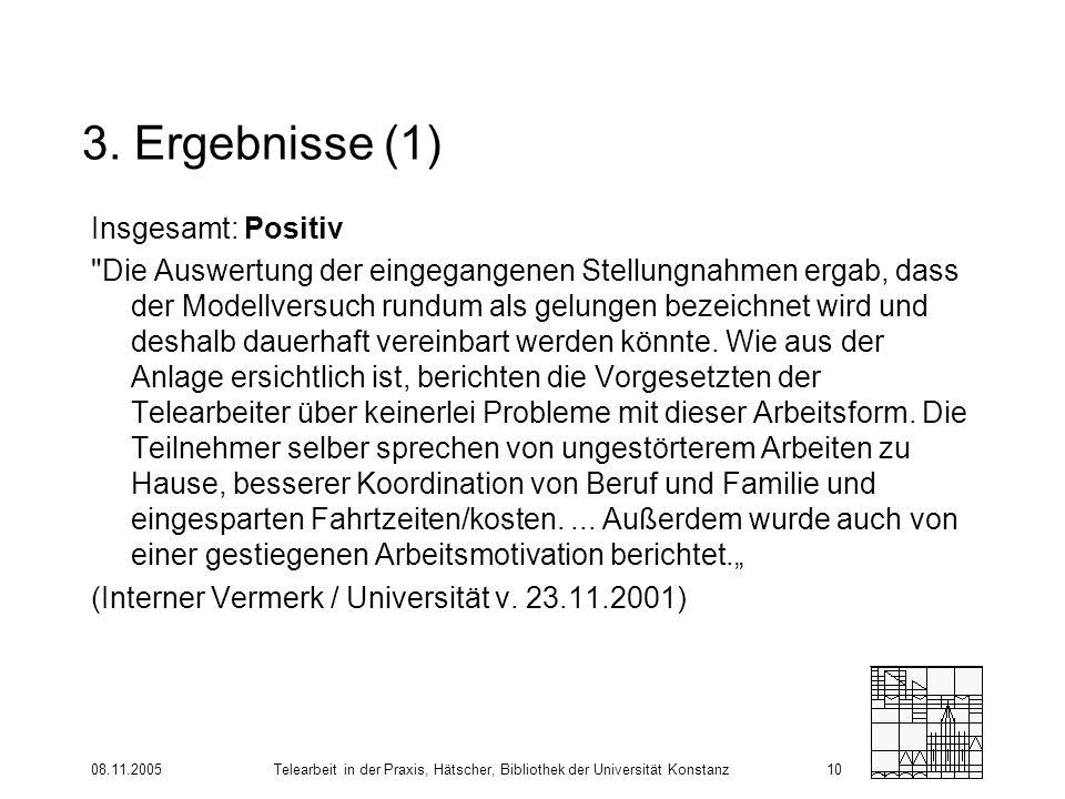 08.11.2005Telearbeit in der Praxis, Hätscher, Bibliothek der Universität Konstanz10 3. Ergebnisse (1) Insgesamt: Positiv