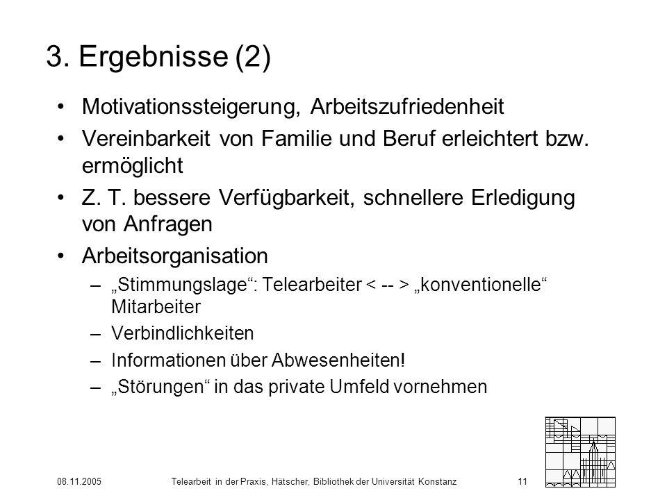 08.11.2005Telearbeit in der Praxis, Hätscher, Bibliothek der Universität Konstanz11 3. Ergebnisse (2) Motivationssteigerung, Arbeitszufriedenheit Vere