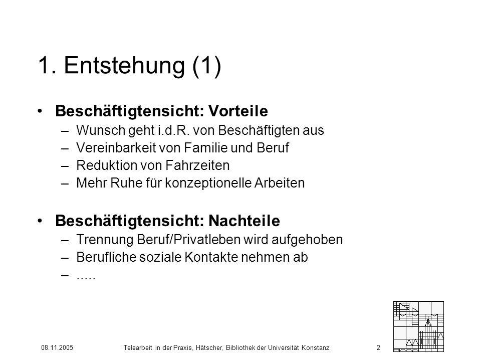 08.11.2005Telearbeit in der Praxis, Hätscher, Bibliothek der Universität Konstanz2 1. Entstehung (1) Beschäftigtensicht: Vorteile –Wunsch geht i.d.R.