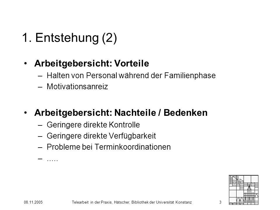 08.11.2005Telearbeit in der Praxis, Hätscher, Bibliothek der Universität Konstanz3 1. Entstehung (2) Arbeitgebersicht: Vorteile –Halten von Personal w