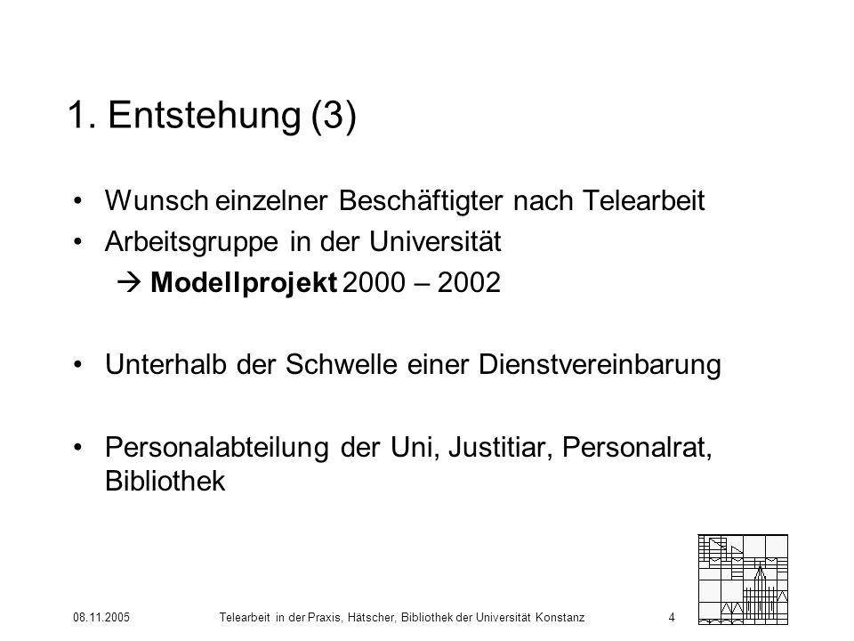 08.11.2005Telearbeit in der Praxis, Hätscher, Bibliothek der Universität Konstanz4 1. Entstehung (3) Wunsch einzelner Beschäftigter nach Telearbeit Ar