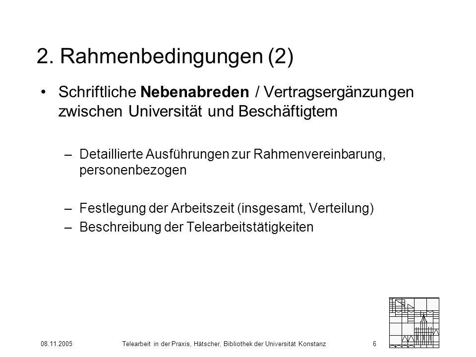 08.11.2005Telearbeit in der Praxis, Hätscher, Bibliothek der Universität Konstanz6 2. Rahmenbedingungen (2) Schriftliche Nebenabreden / Vertragsergänz