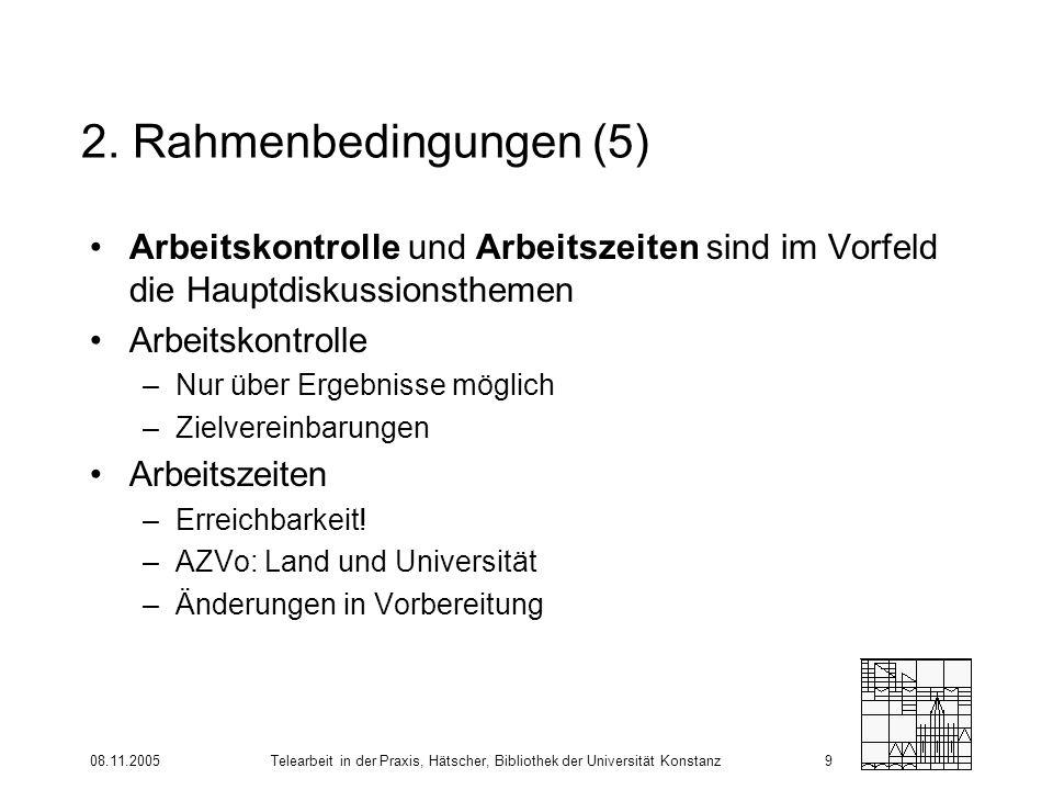 08.11.2005Telearbeit in der Praxis, Hätscher, Bibliothek der Universität Konstanz9 2. Rahmenbedingungen (5) Arbeitskontrolle und Arbeitszeiten sind im