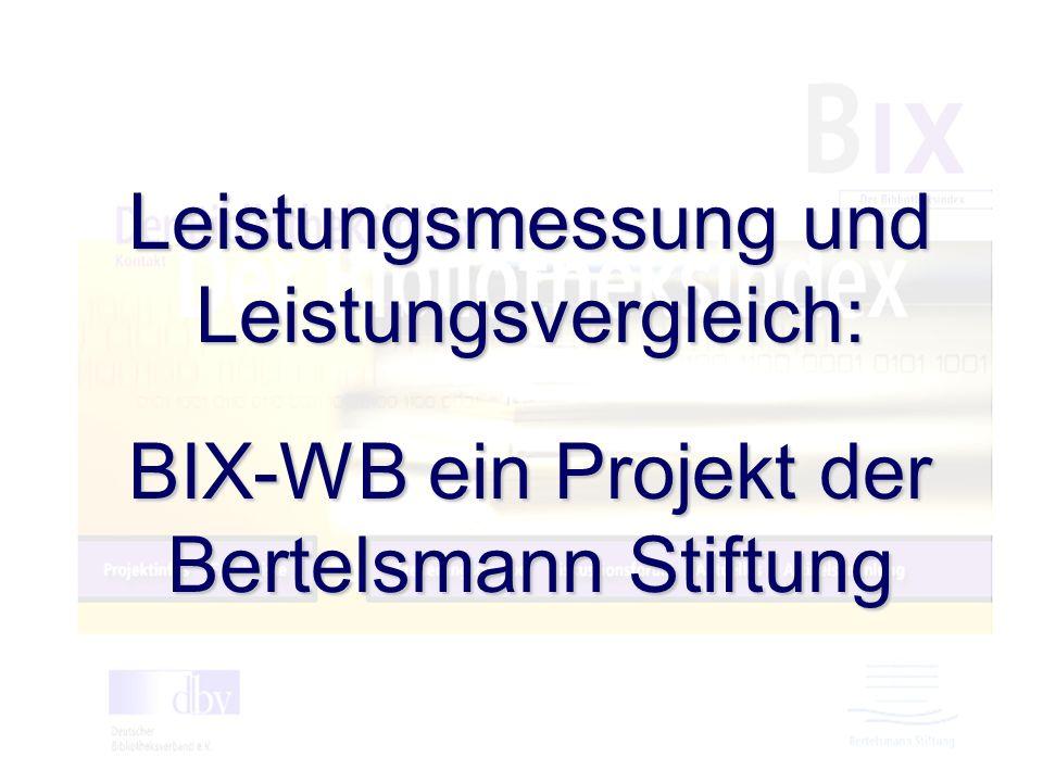 UB Hohenheim Leistungsmessung und Leistungsvergleich: BIX-WB ein Projekt der Bertelsmann Stiftung