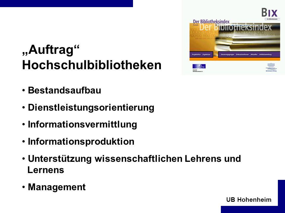 UB Hohenheim Auftrag Hochschulbibliotheken Bestandsaufbau Dienstleistungsorientierung Informationsvermittlung Informationsproduktion Unterstützung wissenschaftlichen Lehrens und Lernens Management