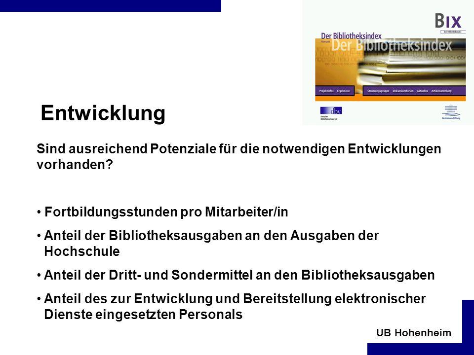 UB Hohenheim Entwicklung Sind ausreichend Potenziale für die notwendigen Entwicklungen vorhanden.