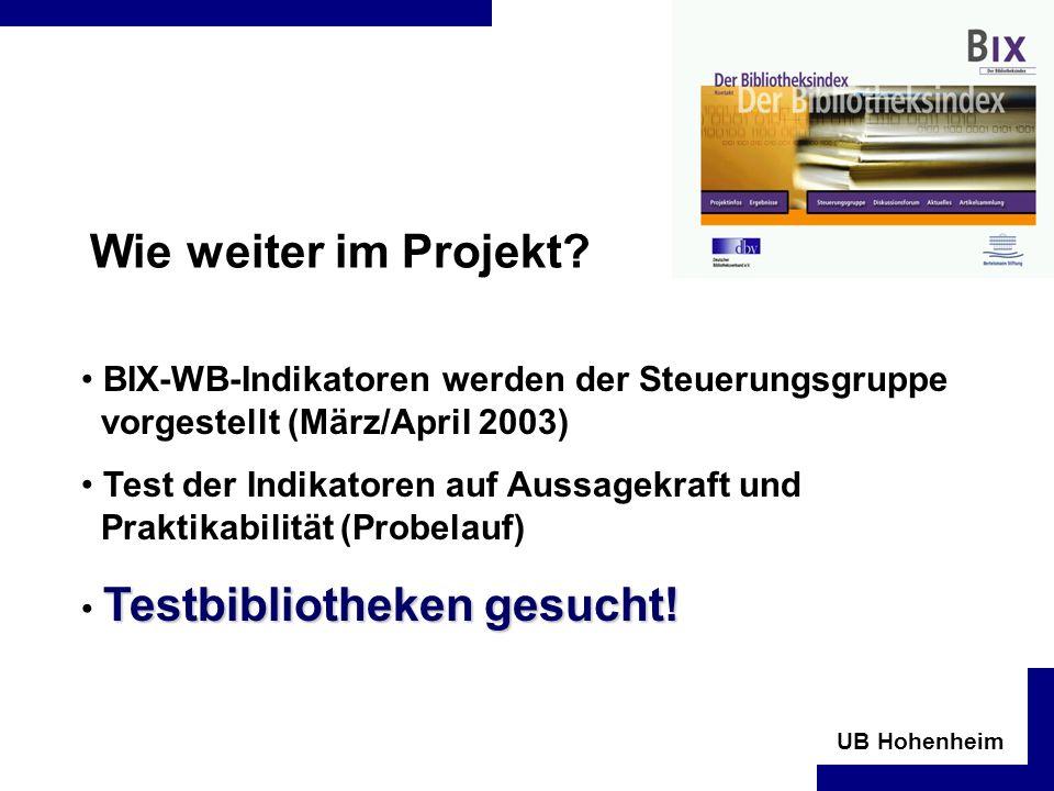 UB Hohenheim Wie weiter im Projekt.