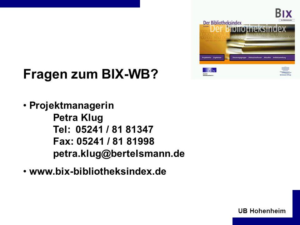 UB Hohenheim Fragen zum BIX-WB.