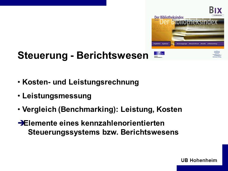 UB Hohenheim Steuerung - Berichtswesen Kosten- und Leistungsrechnung Leistungsmessung Vergleich (Benchmarking): Leistung, Kosten Elemente eines kennzahlenorientierten Steuerungssystems bzw.