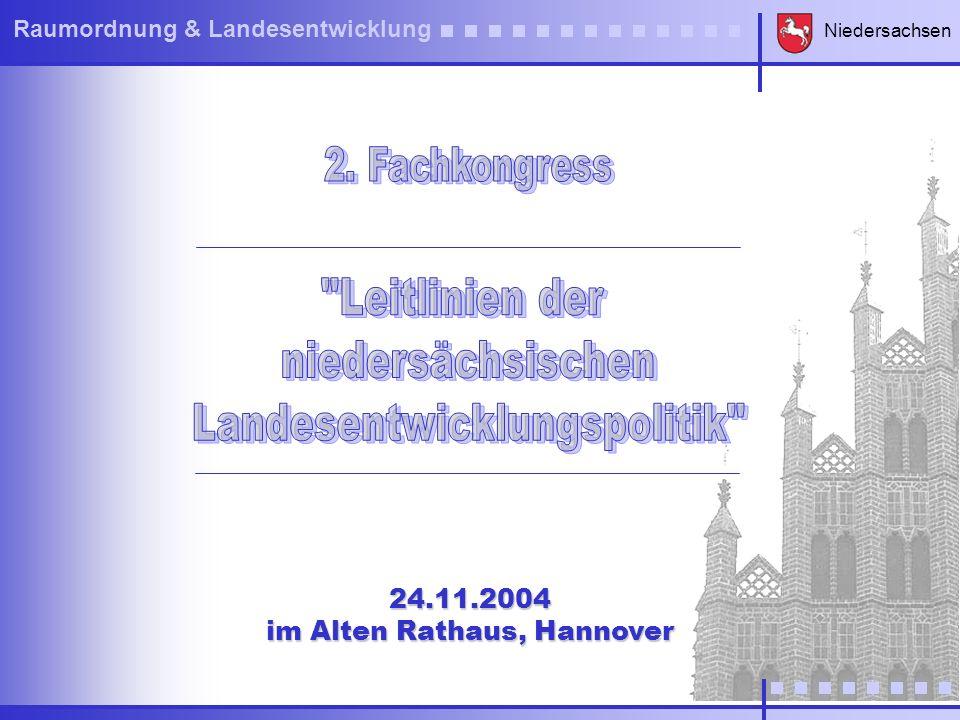 Niedersachsen Raumordnung & Landesentwicklung Niedersachsen will diese Leitlinien durch eine koordinierte Raumordnungs- und Landesentwicklungspolitik umsetzen, die auf Partnerschaft und Stärkung der Entwicklungskraft der Regionen setzt.