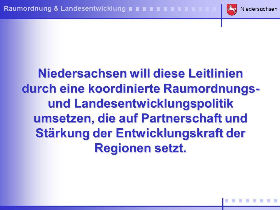 Niedersachsen Raumordnung & Landesentwicklung Niedersachsen will diese Leitlinien durch eine koordinierte Raumordnungs- und Landesentwicklungspolitik