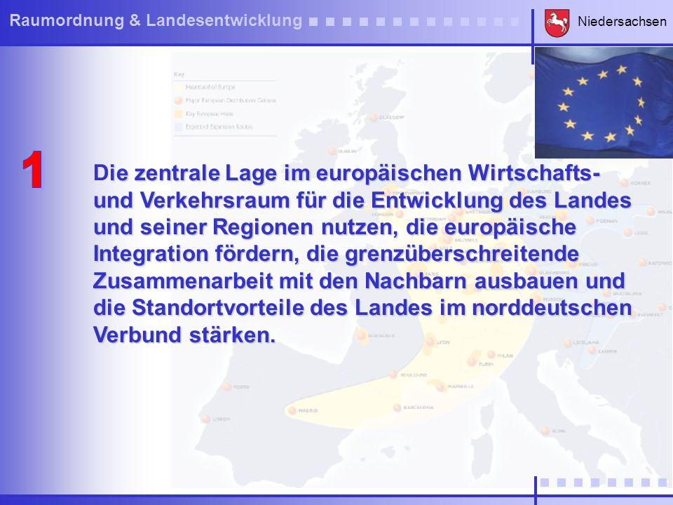 Niedersachsen Raumordnung & Landesentwicklung ie regionsspezifischen Entwicklungspotenziale hervorheben und in allen Teilräumen des Landes auf die jeweiligen Stärken und auf wettbewerbs- fähige Wachstumsprofile setzen.