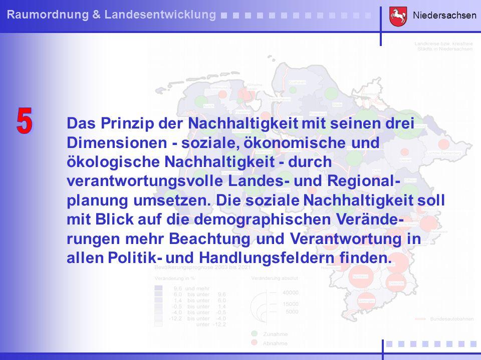 Niedersachsen Raumordnung & Landesentwicklung ie Verkehrsinfrastruktur als wesentlichen Bestandteil eines nach innen und außen ver- netzten Wirtschaftsraumes und als zentrale Voraussetzung für Mobilität, Wachstum und Beschäftigung in allen Teilräumen sichern und ausbauen.