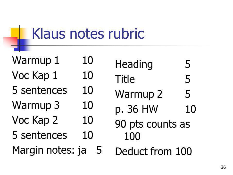 Klaus notes rubric Warmup 1 10 Voc Kap 110 5 sentences10 Warmup 310 Voc Kap 210 5 sentences10 Margin notes: ja 5 36 Heading5 Title5 Warmup 25 p. 36 HW