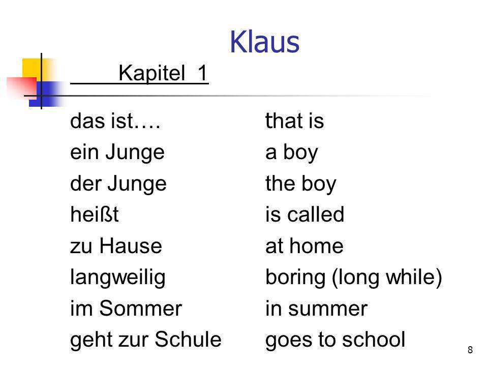 Klaus Kapitel 1 das ist…. t hat is ein Junge a boy der Junge the boy heißt is called zu Hause at home langweilig boring (long while) im Sommer in summ
