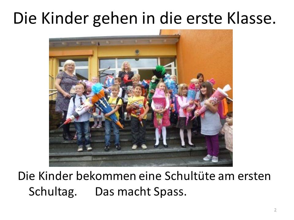 3 Die Kinder __ in die ____ Klasse.Die Kinder _____ eine Schultüte am ____ Schultag.