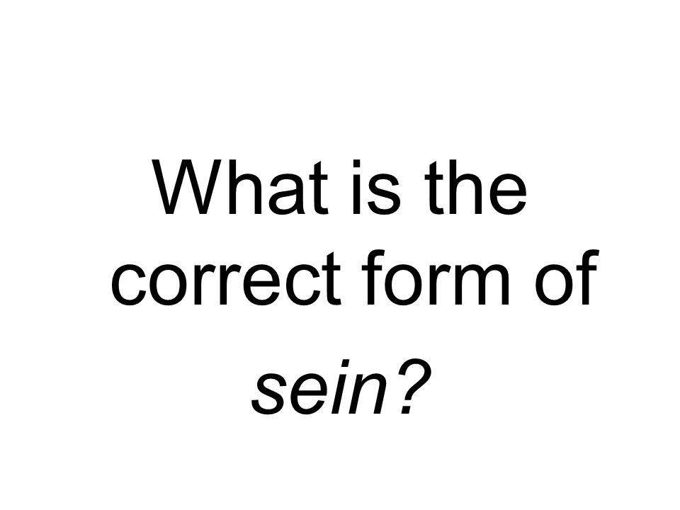 What is the correct form of sein