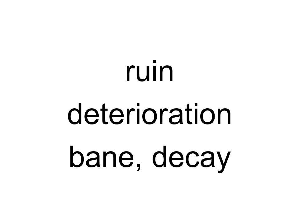 ruin deterioration bane, decay