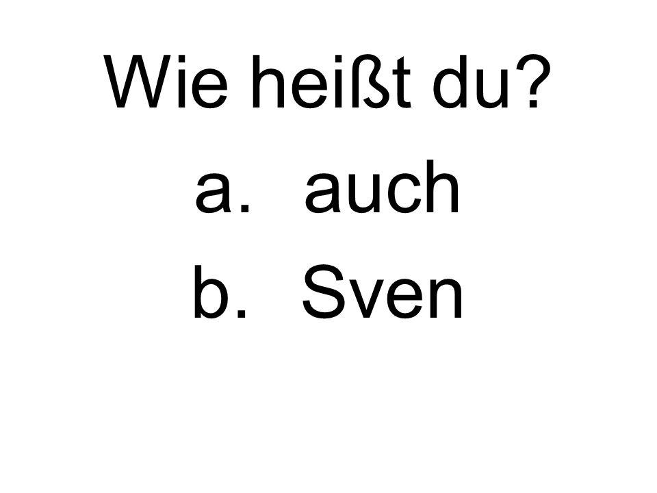 Wie heißt du a.auch b.Sven