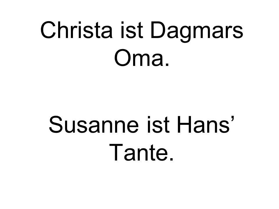 Christa ist Dagmars Oma. Susanne ist Hans Tante.