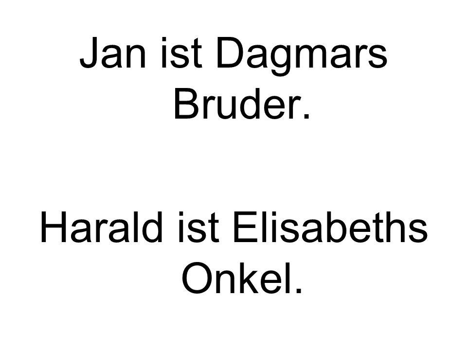 Jan ist Dagmars Bruder. Harald ist Elisabeths Onkel.