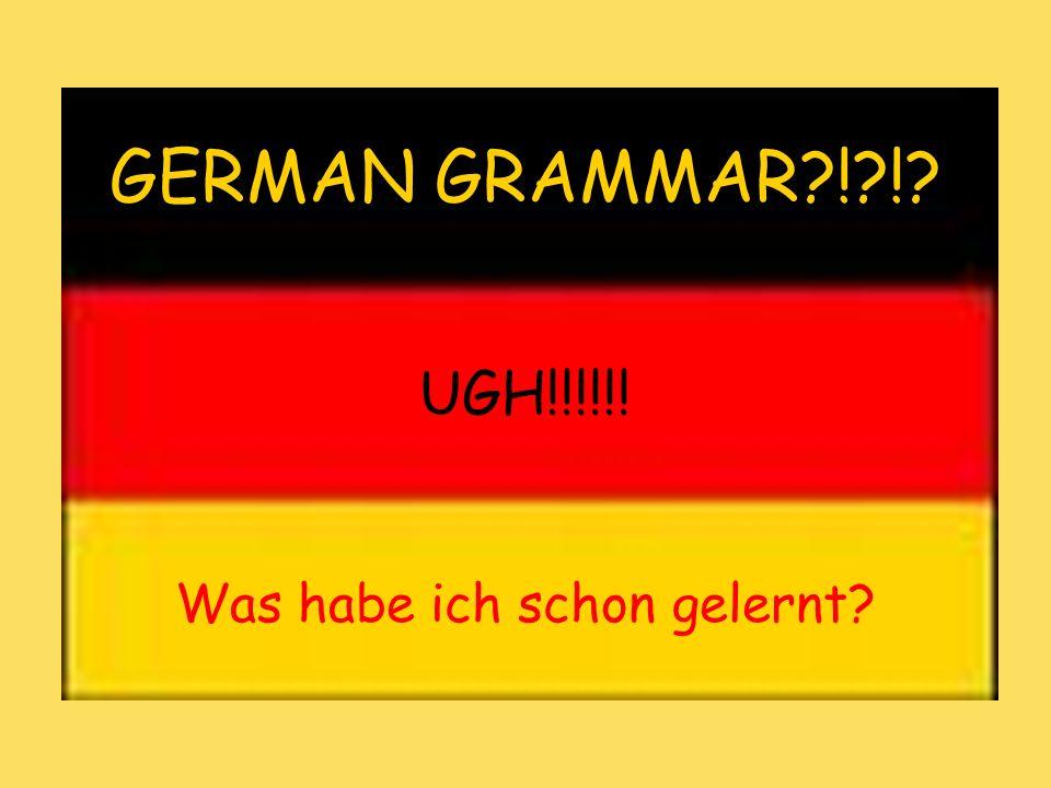 Was habe ich schon gelernt? GERMAN GRAMMAR?!?!? UGH!!!!!!