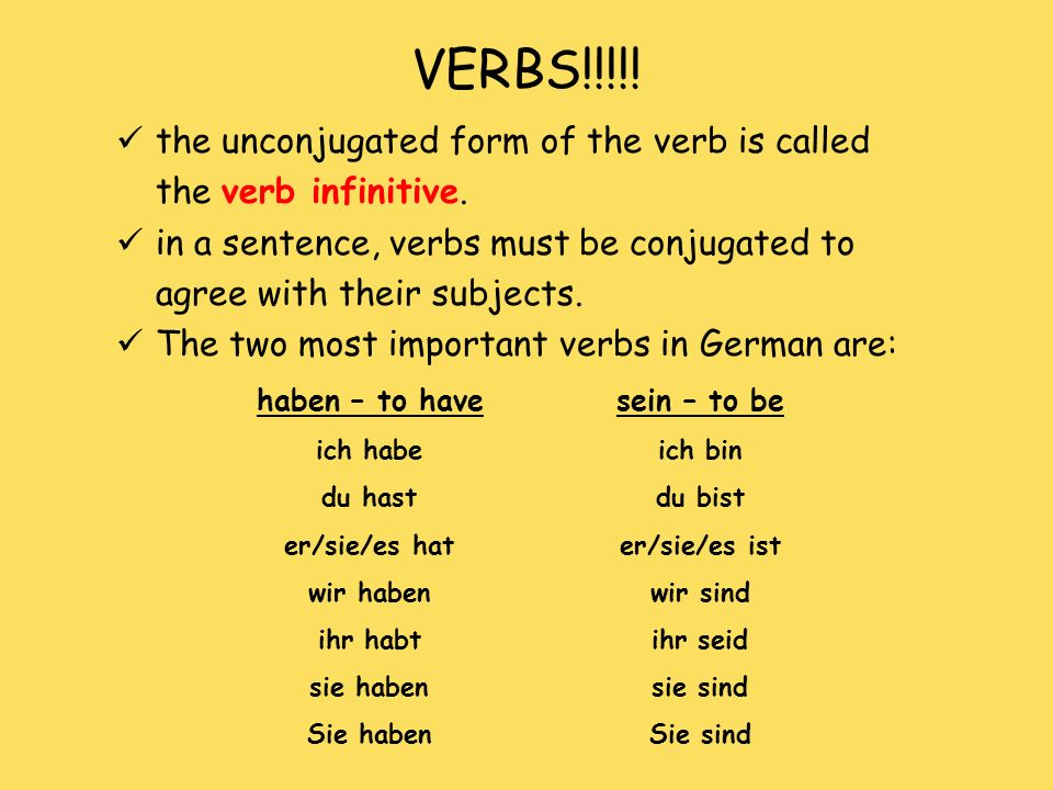 VERBS!!!!! the unconjugated form of the verb is called the verb infinitive. in a sentence, verbs must be conjugated to agree with their subjects. The