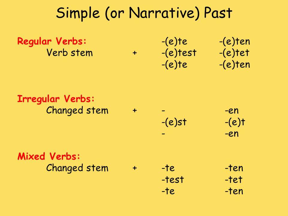Simple (or Narrative) Past Regular Verbs:-(e)te -(e)ten Verb stem+-(e)test-(e)tet -(e)te -(e)ten Irregular Verbs: Changed stem +- -en -(e)st -(e)t - -