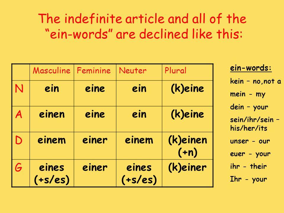 The indefinite article and all of the ein-words are declined like this: MasculineFeminineNeuterPlural N eineineein(k)eine A eineneineein(k)eine D eine