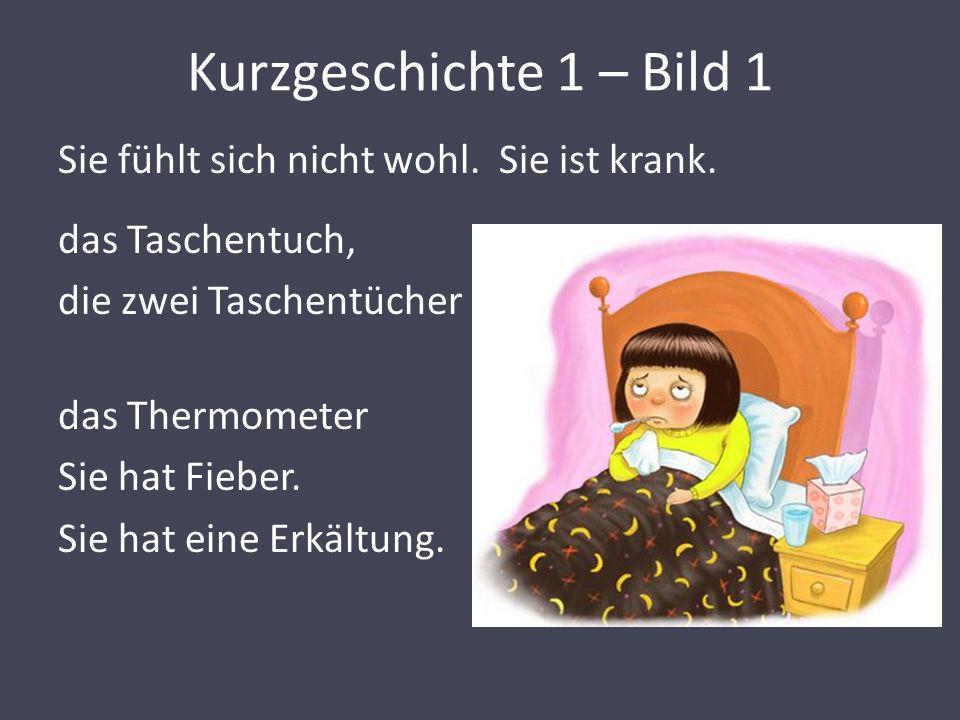 Kurzgeschichte 1 – Bild 1 Sie fühlt sich nicht wohl. Sie ist krank. das Taschentuch, die zwei Taschentücher das Thermometer Sie hat Fieber. Sie hat ei