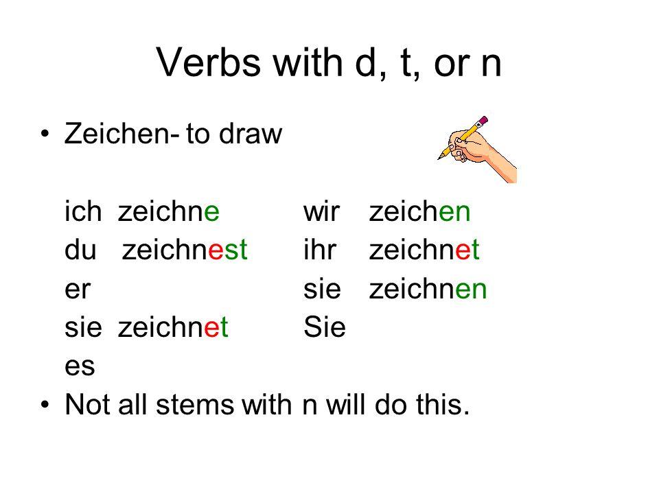 Verbs with d, t, or n Zeichen- to draw ich zeichnewirzeichen du zeichnestihrzeichnet ersiezeichnen sie zeichnetSie es Not all stems with n will do thi