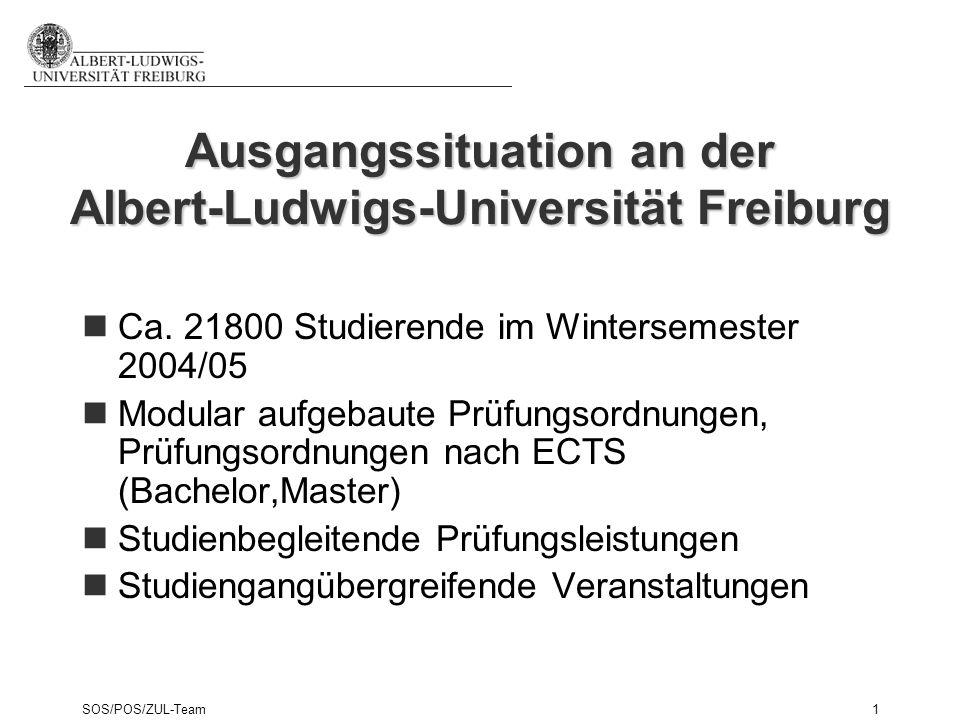 SOS/POS/ZUL-Team1 Ausgangssituation an der Albert-Ludwigs-Universität Freiburg Ca. 21800 Studierende im Wintersemester 2004/05 Modular aufgebaute Prüf