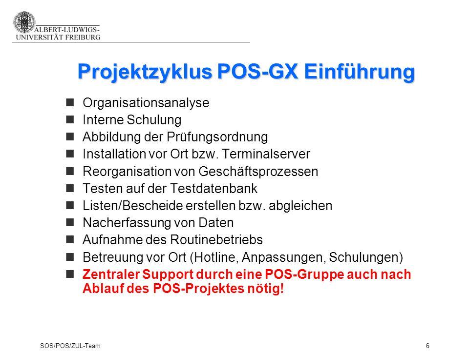SOS/POS/ZUL-Team6 nOrganisationsanalyse nInterne Schulung nAbbildung der Prüfungsordnung nInstallation vor Ort bzw. Terminalserver nReorganisation von