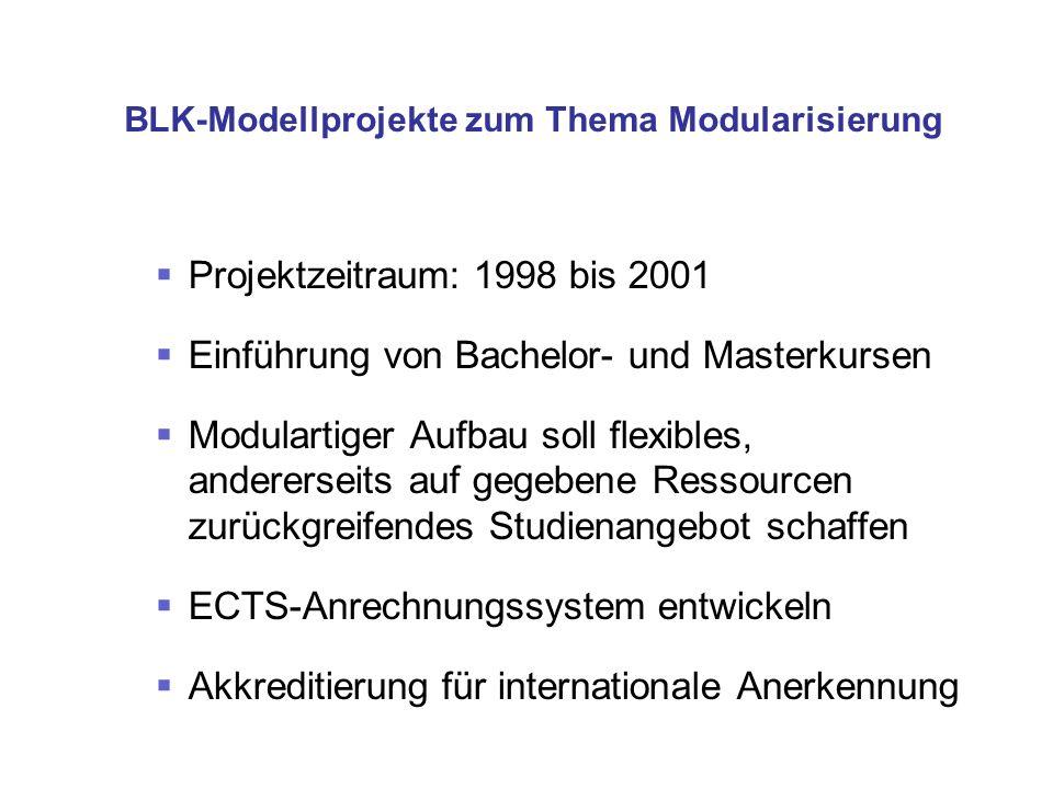 BLK-Modellprojekte zum Thema Modularisierung Projektzeitraum: 1998 bis 2001 Einführung von Bachelor- und Masterkursen Modulartiger Aufbau soll flexibl