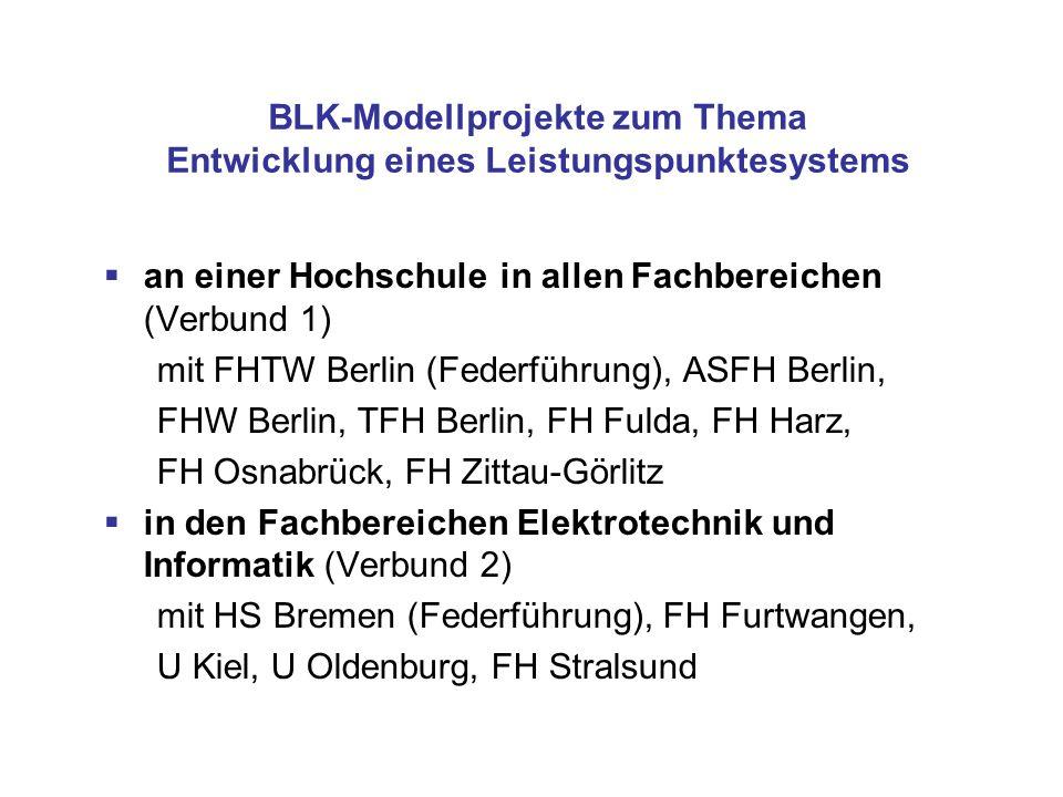 BLK-Modellprojekte zum Thema Entwicklung eines Leistungspunktesystems an einer Hochschule in allen Fachbereichen (Verbund 1) mit FHTW Berlin (Federfüh