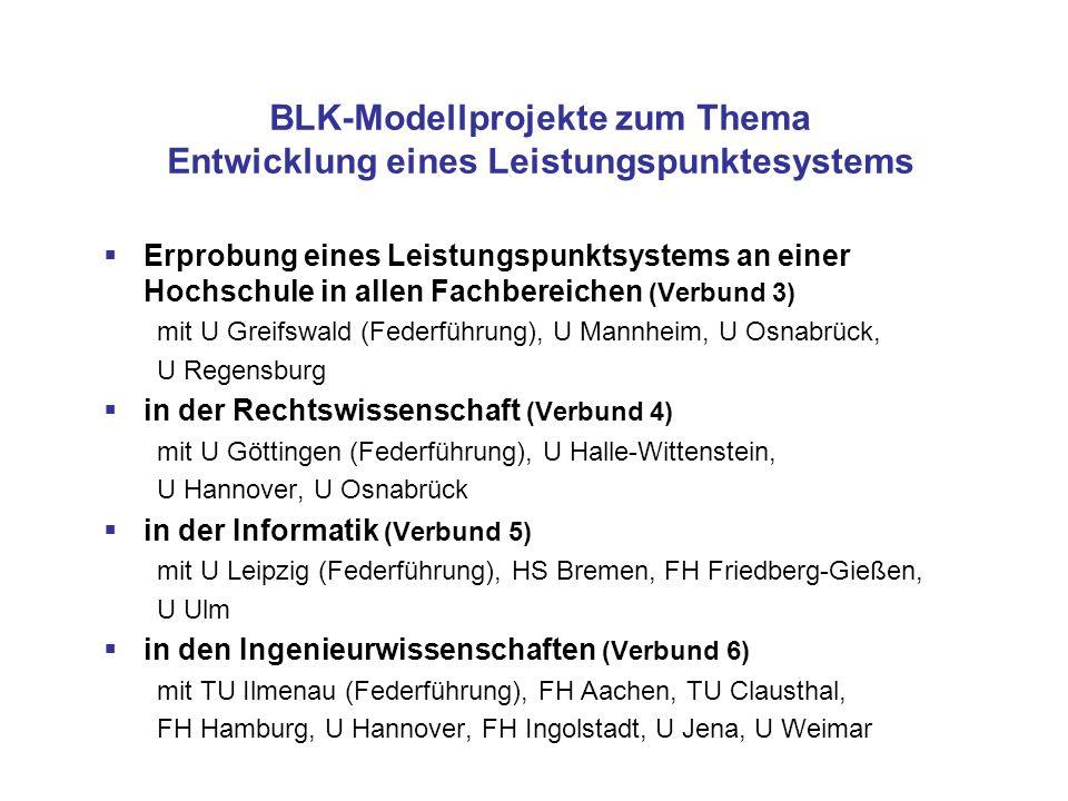 BLK-Modellprojekte zum Thema Entwicklung eines Leistungspunktesystems Erprobung eines Leistungspunktsystems an einer Hochschule in allen Fachbereichen