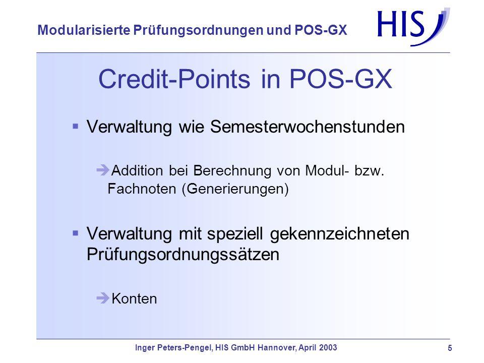 Inger Peters-Pengel, HIS GmbH Hannover, April 2003 5 Modularisierte Prüfungsordnungen und POS-GX Credit-Points in POS-GX Verwaltung wie Semesterwochen