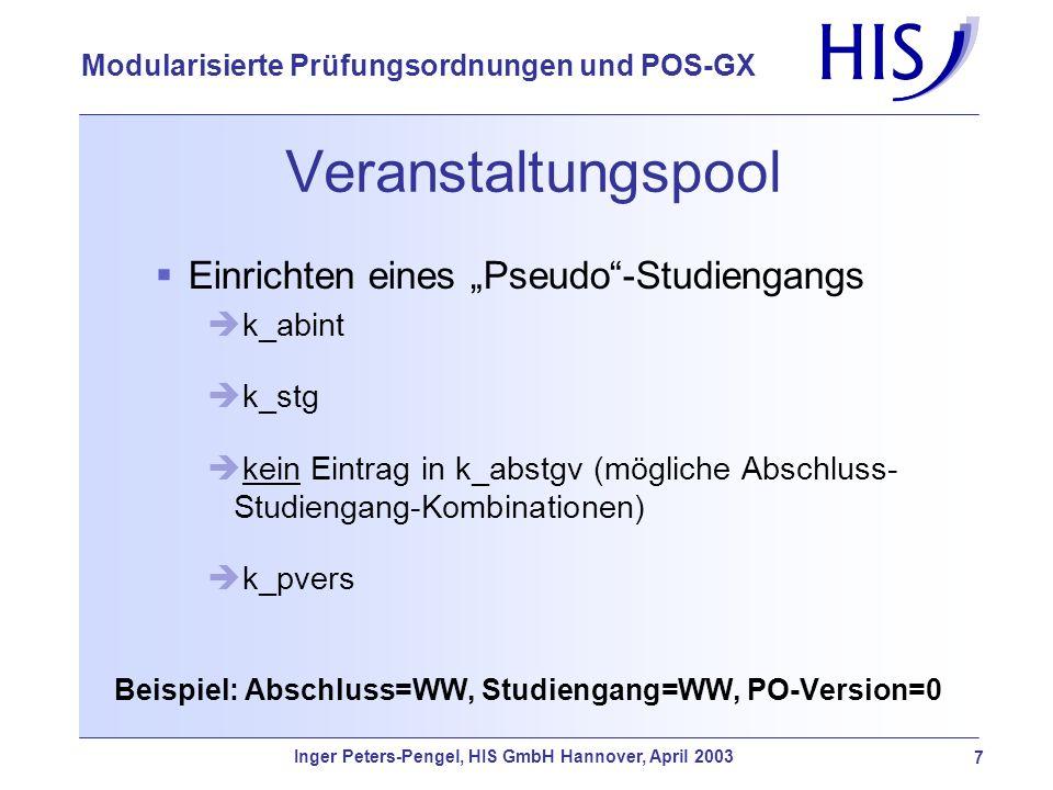 Inger Peters-Pengel, HIS GmbH Hannover, April 2003 7 Modularisierte Prüfungsordnungen und POS-GX Veranstaltungspool Einrichten eines Pseudo-Studiengan