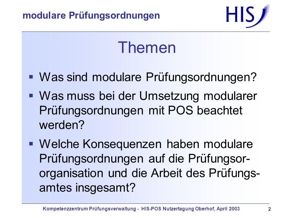 Kompetenzzentrum Prüfungsverwaltung - HIS-POS Nutzertagung Oberhof, April 2003 2 modulare Prüfungsordnungen Themen Was sind modulare Prüfungsordnungen